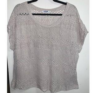 Garage Brown Crochet Knit Short Sleeve Sweater - M